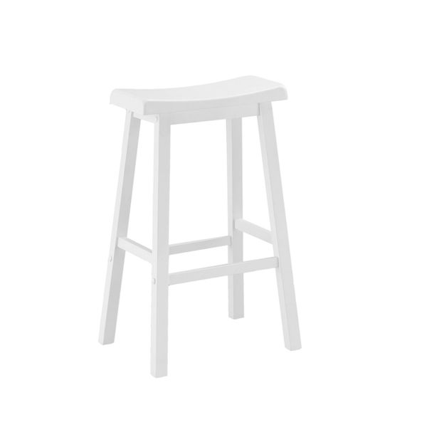 """Monarch 2 Piece 29"""" Saddle Seat Wooden Bar Height Barstool Chair Set - White Finish 