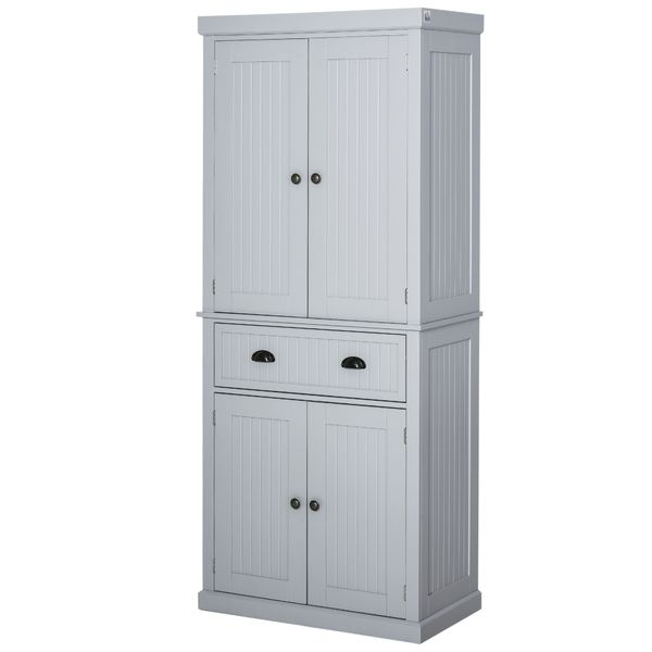 Homcom Traditional Freestanding Kitchen Pantry Cabinet Cupboard With Doors And Shelves Adjustable Shelving Grey Wooden Organizer Home Furniture Pantry Buffet Aosom