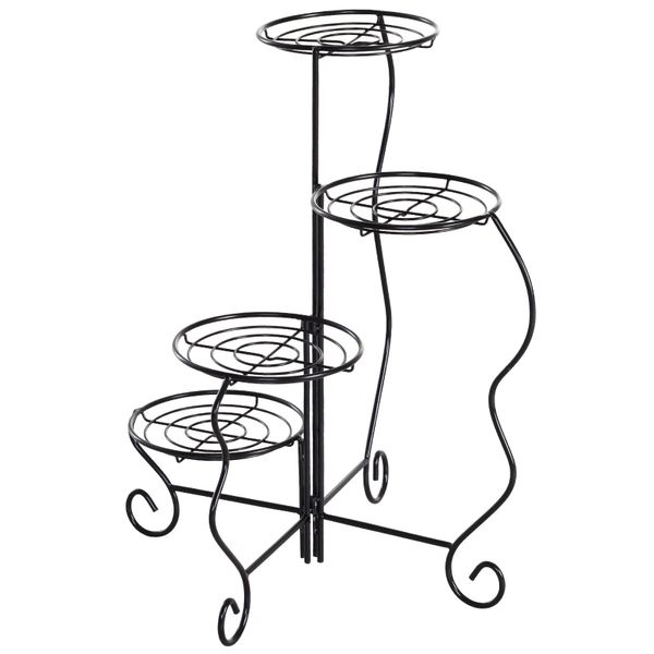 Outsunny 4-Tier Folding Flower Pot Stand Display Table for an Elegant Indoor/Outdoor Decorative Touch | Aosom