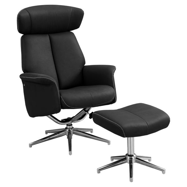 Monarch Retro Modern Upholstered Faux Suede Swivel Recliner with Matching Ottoman - Black | Aosom