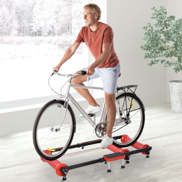 Soozier Adjustable Indoor Bike Roller Resistance Cycling Trainer Exercise Fitness - Red Machine | Aosom