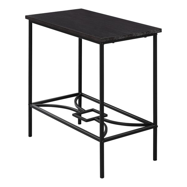 """Monarch 22"""" Elegant Metal Framed Wood Veneer Top Side Accent Table - Cappuccino Brown Finish   Aosom"""