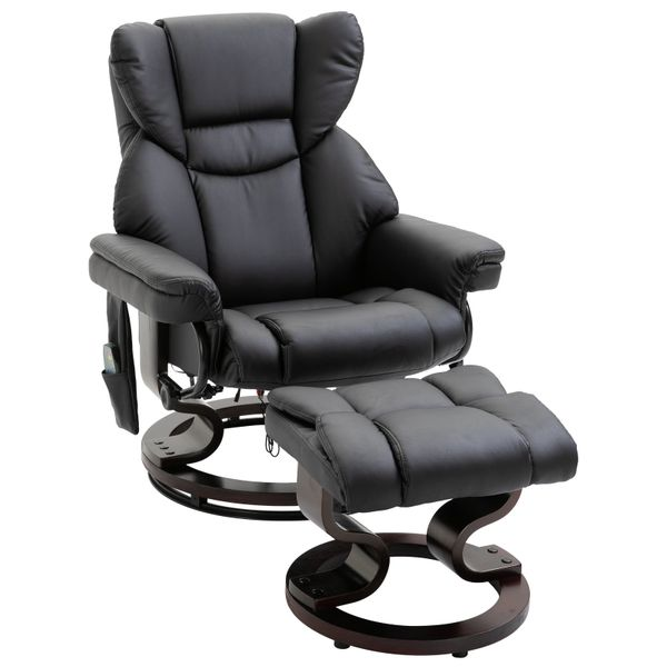 HOMCOM Massage Recliner Chair with Footrest 10 Vibration Levels Faux Leather Black   Aosom