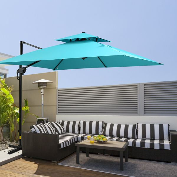 Outsunny 10' 2-Tier Canopy Cantilever Patio Umbrella with Rotating Base & 5-Position Tilt & Weights - Light Blue   Aosom