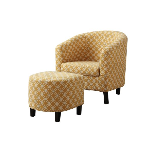 Monarch Modern Upholstered Curved Back Barrel Tub Chair with Matching Ottoman - Yellow Circular Pattern | Aosom