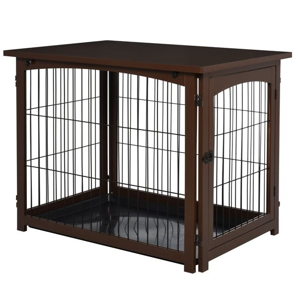 PawHut Wooden Decorative Dog Cage Pet Crate Fence Side Table Small Animal House with Tabletop Lockable Door Brown   Aosom