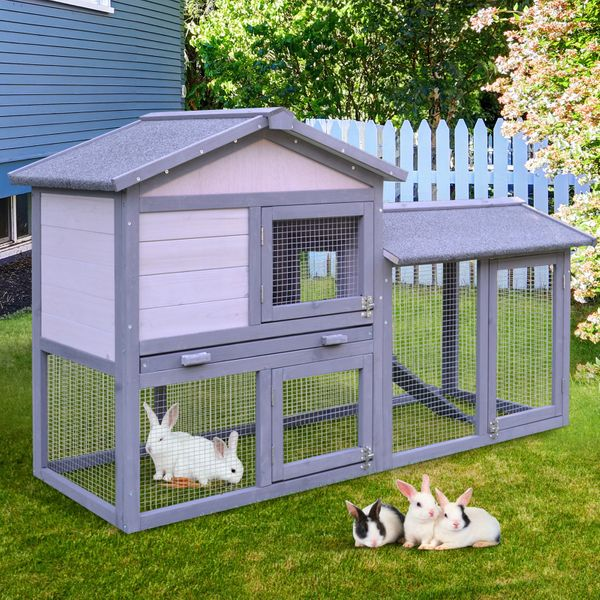 "PawHut 58"" Large Outdoor Raised Painted Deluxe Wood Weatherproof Rabbit Hutch Bunny Cage Enclosure with Run for Small Animal Rabbit Bunny Puppie Bird 