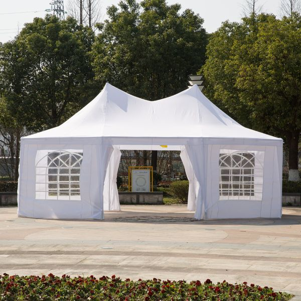 Outsunny White 22ft x 16ft Octagon 8-Wall Gazebo Canopy Tent Outdoor Patio 22'x16' Decagonal Canopy Tent For Large Wedding Party | Aosom