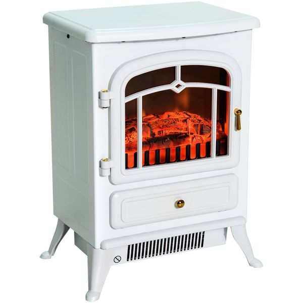 """HOMCOM 16"""" Small Electric Fireplace Heater 1500W/750W Compact Freestanding Electric Wood Stove Fireplace Heater With Realistic Flames - White   Aosom"""