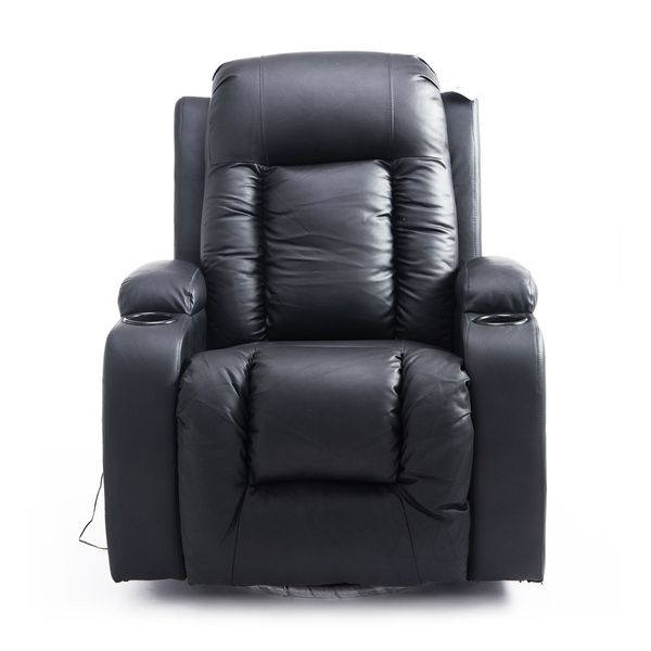 HOMCOM Luxury Faux Leather Heated Vibrating Massage Recliner Chair with Remote - Black heated vibrating massage recliner | Aosom