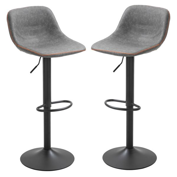 Homcom Gray Bar Stool Retro Industrial Set Of 2 Adjustable Height Bar Chairs For Kitchen,Counter,And Home Bar,Grey Kitchen & Area | Aosom