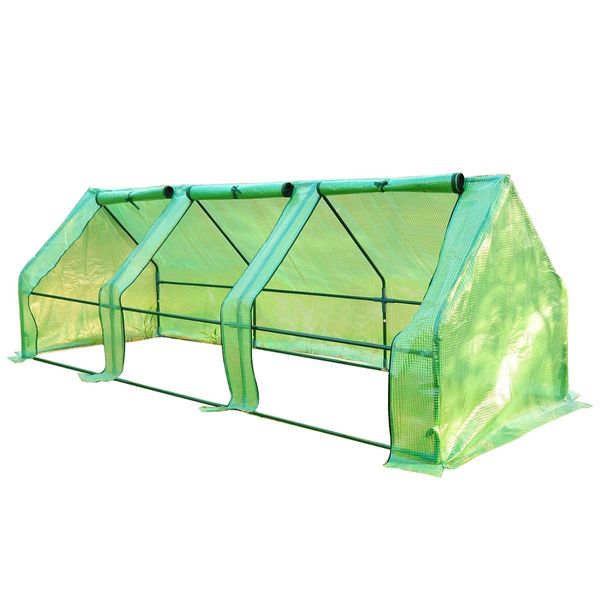Outsunny 9' x 3' Flower Garden Portable Greenhouse   Gardening Plants Yard Mini small flower garden greenhouse|Aosom.com