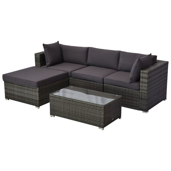 Outsunny 5-Piece Deluxe Outdoor Patio Rattan Furniture Set with Durability Comfortable Seating and a Modern Look Grey w/ Ottoman Sofa Table | Aosom
