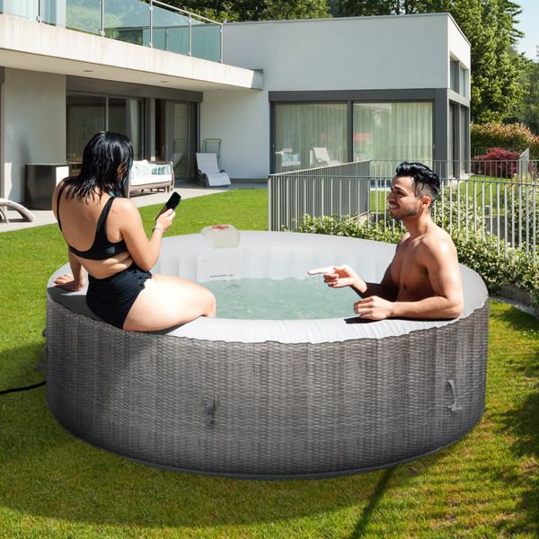 Outsunny 82''x82''x26'' Inflatable Hot Tub Bubble Portable 4-6 People Spa Pool with Filter Pump  White and Gray | Aosom