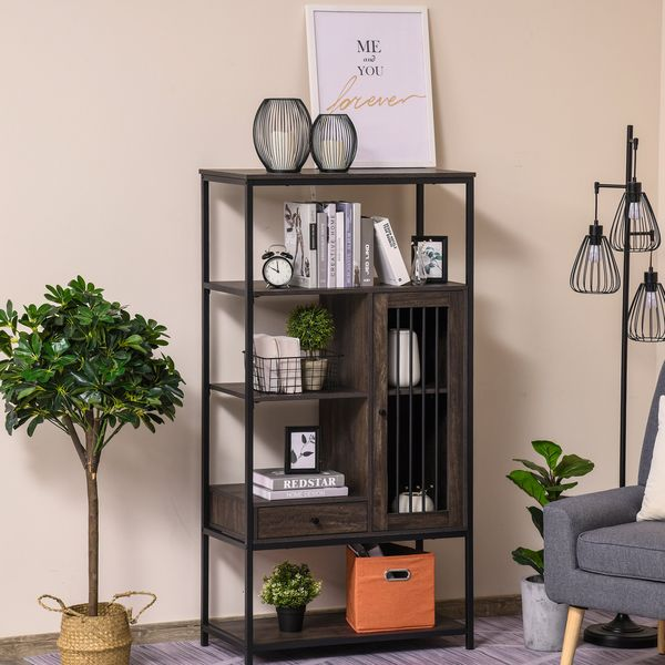 HOMCOM 4-Tier Industrial Style Bookcase with Open Storage Display Rack  Drawer  Cabinet for Home  Office  and Study  Dark Brown Bookshelf Shelf | Aosom