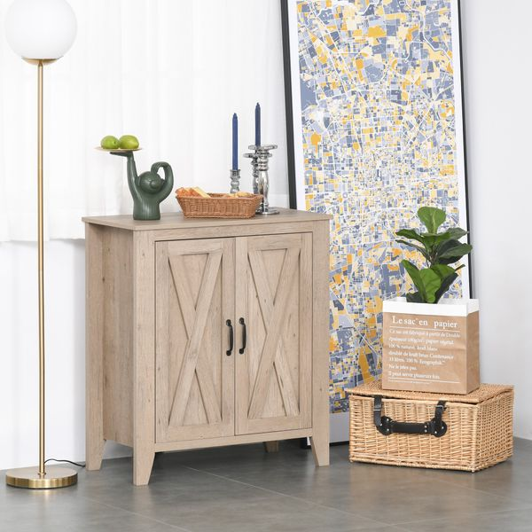 HOMCOM Rustic Farmhouse Style Cabinet Accent Serving Buffet Console Sideboard for Kitchen, Dining Area, Living Room Area | Aosom