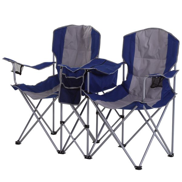 Outsunny 2 Person Folding Oxford Metal Portable Camping Chair With Center Ice Bag Included Magazine Sleeve Blue Double Outdoor Camp W Cup Holder Fabric Camping Chairs And Hammocks Aosom