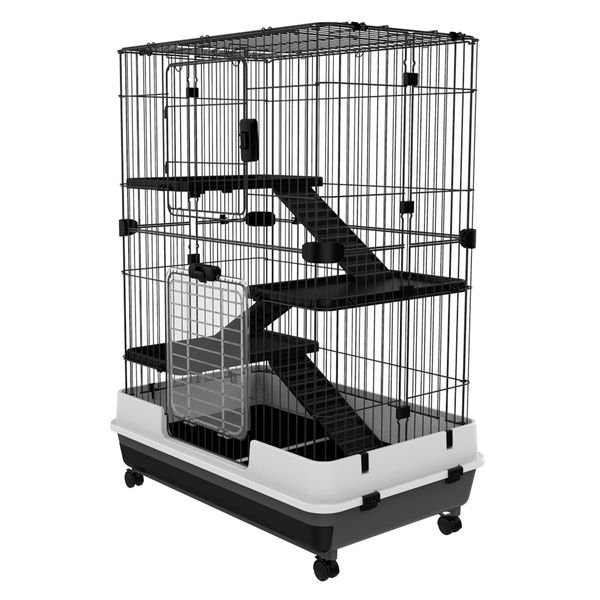 """PawHut 43""""H Metal 4-level Rabbit Cage Indoor Small Animal Hutch / 4-level small animal cage 