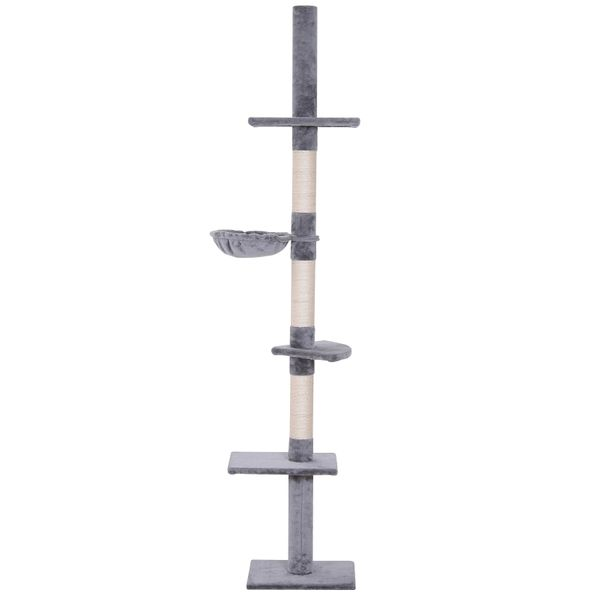 """PawHut 8.5' Adjustable Height Floor-To-Ceiling Vertical Cat Tree with 5 Carpeted Platforms & 3 Sisal Rope Scratching Areas Grey 106"""" Large Platform Tower