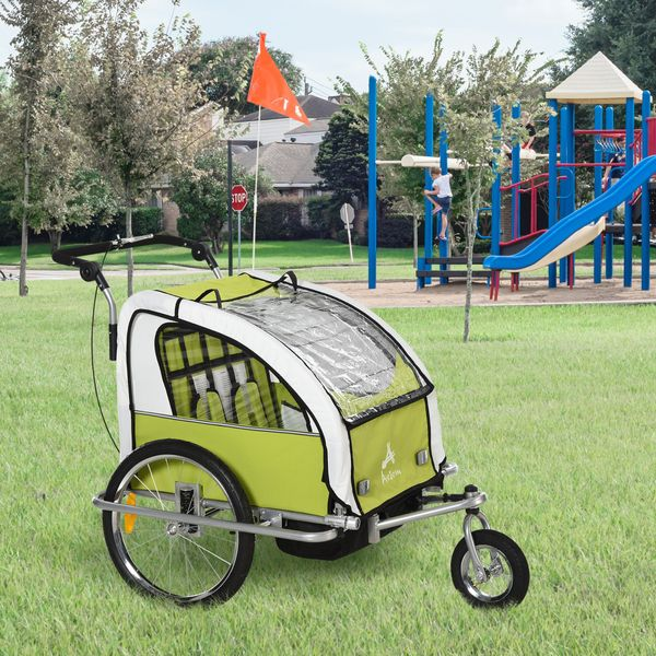 Aosom 2 In 1 Multifunctional Kid Bicycle 2-Seat Child Carrier Baby Trailer Stroller Jogger Kit in Steel Frame with Hand Brake Green and White | Aosom