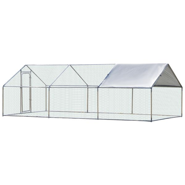 PawHut Fully Galvanized Chicken Cage Enclosure 3 Rooms Pet Play Pen Backyard Coop With UV-Protection Water-Resistant Cover 9.8' x 19.7' x 6.4' Silver W/   Aosom