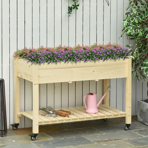 Outsunny Raised Garden Bed Mobile Elevated Wood Planter Box w/ Lockable Wheels, Storage Shelf  for Herbs and Vegetables Backyard Patio Balcony Zebrano Wheels   Aosom