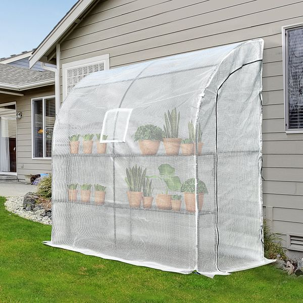 Outsunny Outdoor Walk-In Tunnel Wall Garden Greenhouse with Windows and Doors 2 Tiers 4 Wired Shelves 6.6' L | Aosom