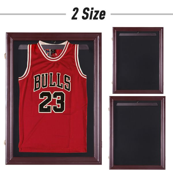 UV-Resistant Sports Jersey Frame Display Case - Cherry Brown | Aosom
