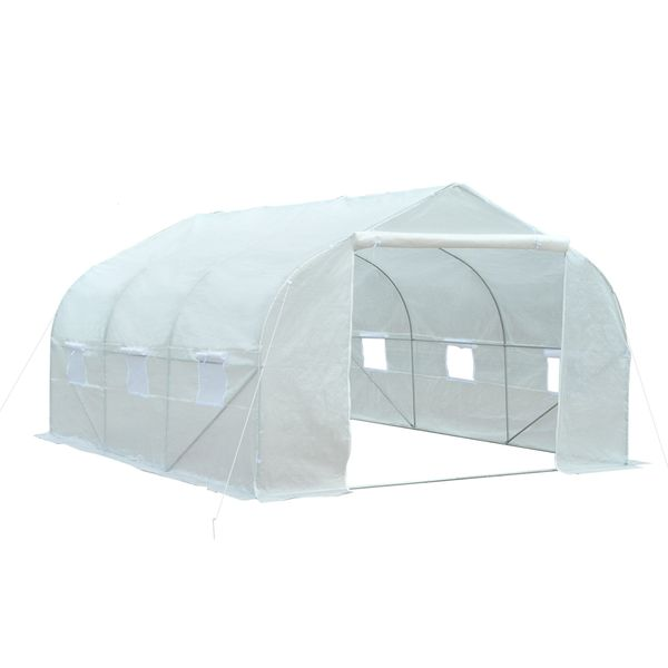 Outsunny Portable Walk-In Garden Greenhouse - White / Outdoor Tunnel with Windows 11' x 10' 7' - White Heavy Duty large portable greenhouse | Aosom