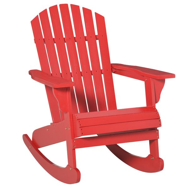 Outsunny Wooden Adirondack Rocking Chair with Slatted Wooden Design, Fanned Back, & Classic Rustic Style, Red Outdoor Fir Large Back Style   Aosom