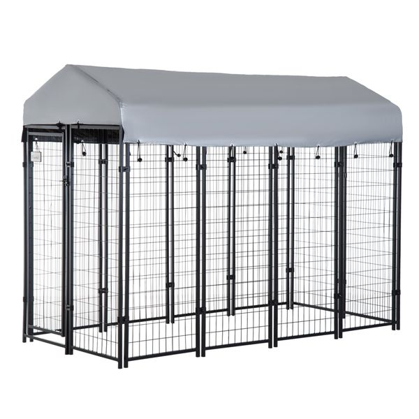 """Pawhut 96"""" Wooden Backyard Hen House Chicken Coop / 97"""" x 46"""" 58""""-72"""" Outdoor Covered Dog Box Kennel Run Crate Cage Enclosure Spacious and Secure Kennel   Aosom"""