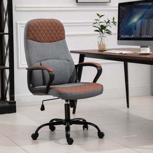 Vinsetto High Back Office Chair with 2-Point Lumbar Massage  USB Power  Faux Leather  and Linen Fabric  Brown and Grey Executive Ergonomic Home 360 Wheels   Aosom