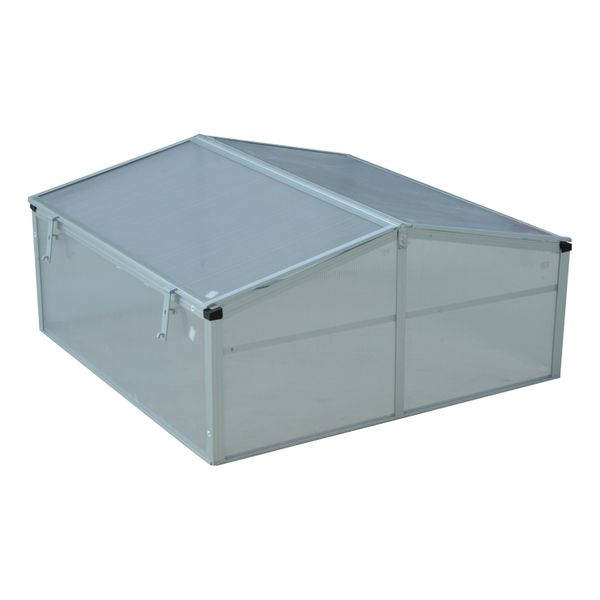 "Outsunny 39"" Aluminum Vented Cold Frame Greenhouse - Silver/Transparent / Portable Garden mini greenhouse kit 