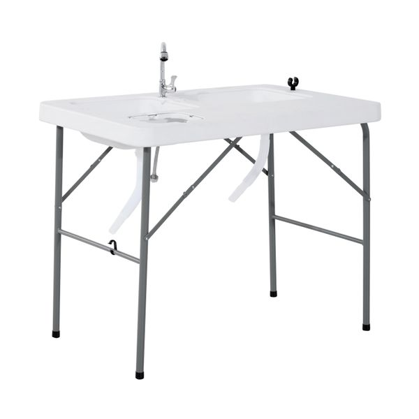 Outsunny Portable Folding Camping Table with Faucet / Outdoor Durable Fishing Camp Fish Cleaning Cutting portable camping sink|Aosom.com