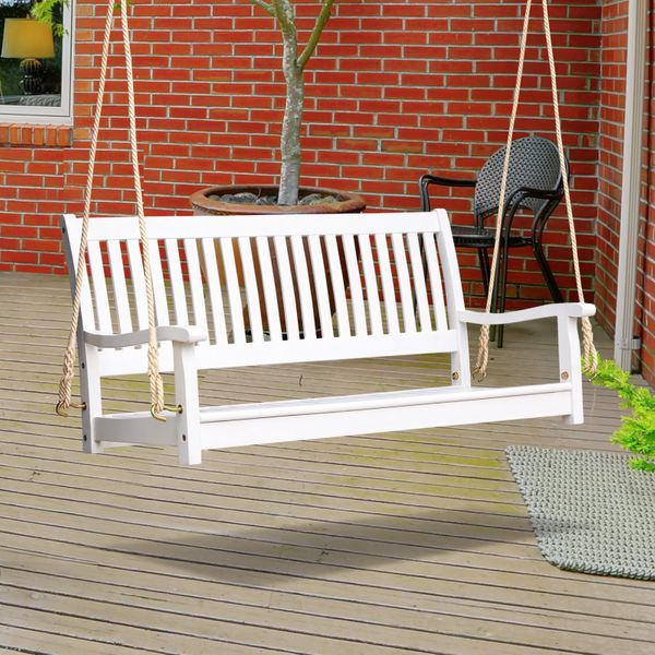 Outsunny 48'' Wooden Porch Swing Bench w/ Supportive Ropes for 2 Person Without Frame for the Patio  Deck  or Backyard White Outdoor | Aosom