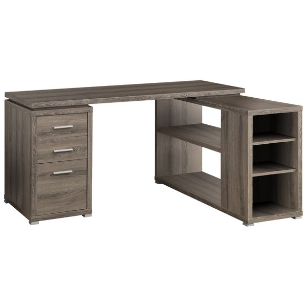 Monarch L-Shaped Contemporary Hollow-Core Reclaimed Wood-Look 3 Drawer Computer Desk with Shelves - Dark Taupe   Aosom