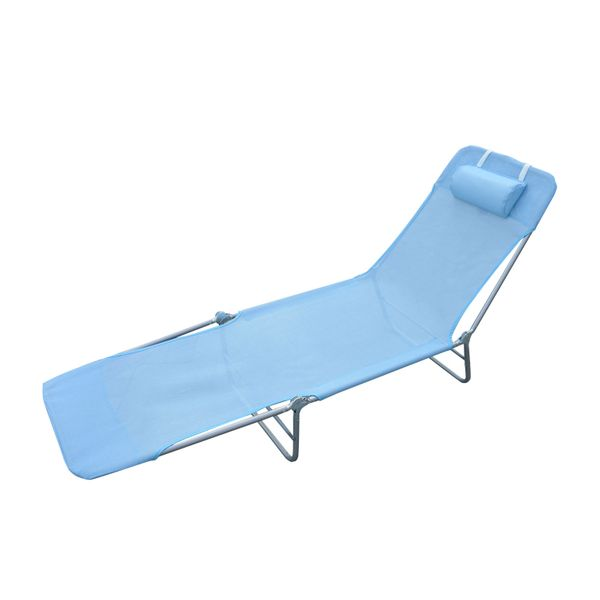 Outsunny Outdoor Patio Foldable Chaise Lounge Chair Adjustable Beach Cot w/ Pillow Blue | Aosom