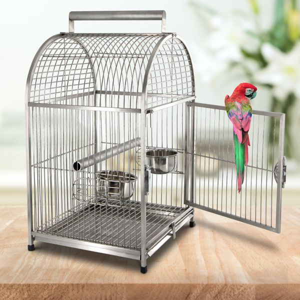 """PawHut 25"""" Dome Top Stainless Steel Travel Bird Cage Carrier With Handle Perch 25"""" Portable Stainless steel travel bird cage