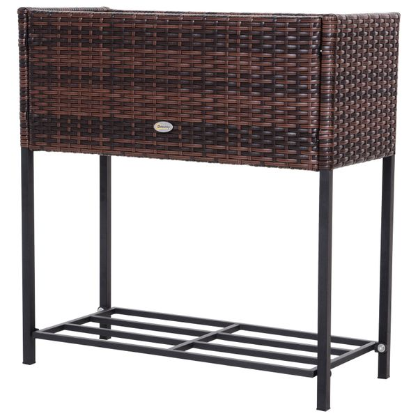 """Outsunny Indoor/Outdoor Rattan Flower Planter Box with Tool Storage Rack Below and Sturdy Elevated Work Area 28"""" H   Aosom"""