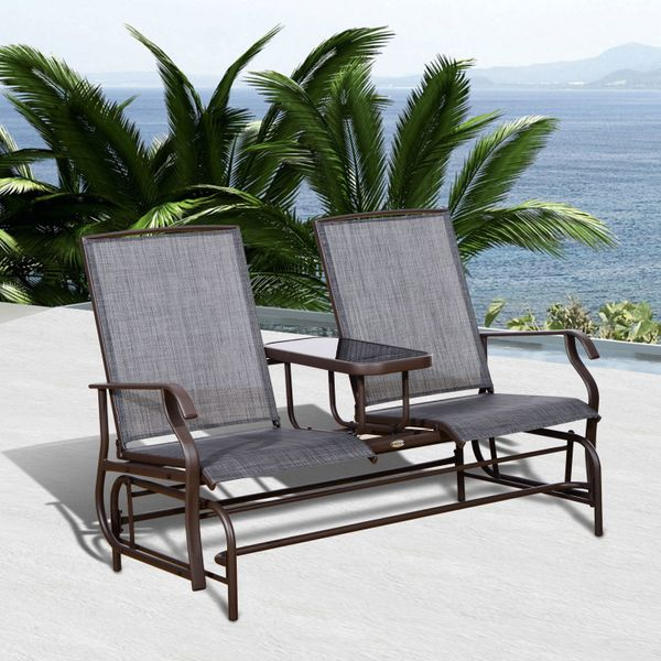 Outsunny 2 Person Outdoor Mesh Fabric Patio Double Glider Chair w/Center Table / Rocking Bench Loveseat Outdoor Swing Bench with Table   AosoM