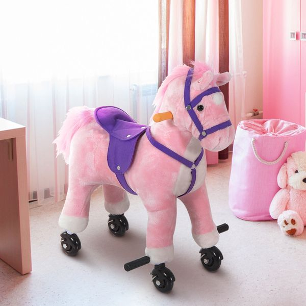 Qaba Rocking Horse Toy Plush Walking Horse Toy With Wheels And Sound For Ages 3 To 6 Years – Pink/Purple | Aosom