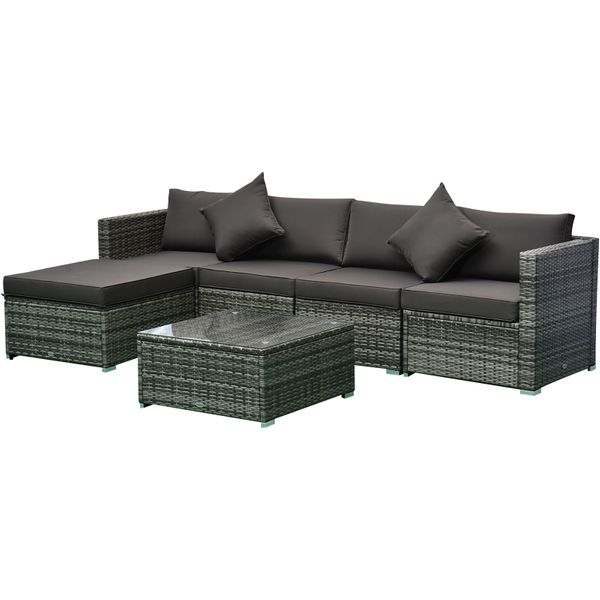 Outsunny 6-Piece Outdoor Patio Rattan Wicker Furniture Set with Comfort Cotton Cushions  Removable Slip Covers Charcoal w/|AOSOM.COM