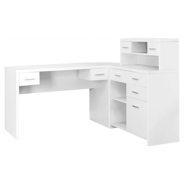 Monarch Contemporary Hollow-Core L-Shaped Office Desk with Storage Shelves and Drawers - White | Aosom