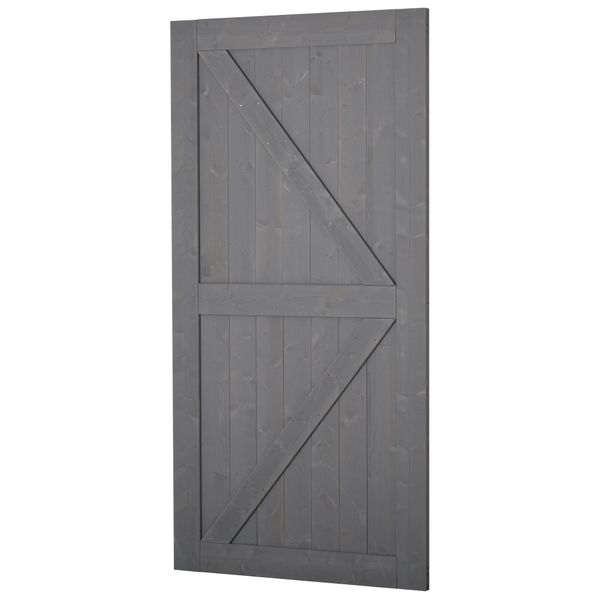 HOMCOM 7' H x 3.5' W Sturdy Sliding Barn Door  Unfinished Solid Spruce Wood Frame with Pre-Drilled Holes  Grey 7ft DIY K-Shape | Aosom