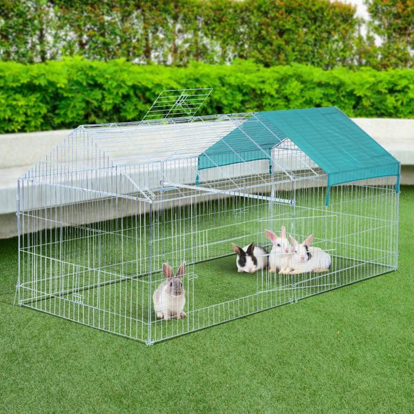 PawHut 7.2' x 3.4' x 3.4' Small Animal Pet Enclosure Outdoor Play Rabbit Folding Cage Playpen Hutch w/ Cover Silver & Green | Aosom