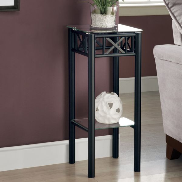 """Monarch 28"""" Contemporary Tempered Glass Top Metal Frame 2-Tier Plant Stand Side Accent Table - Black Finish 