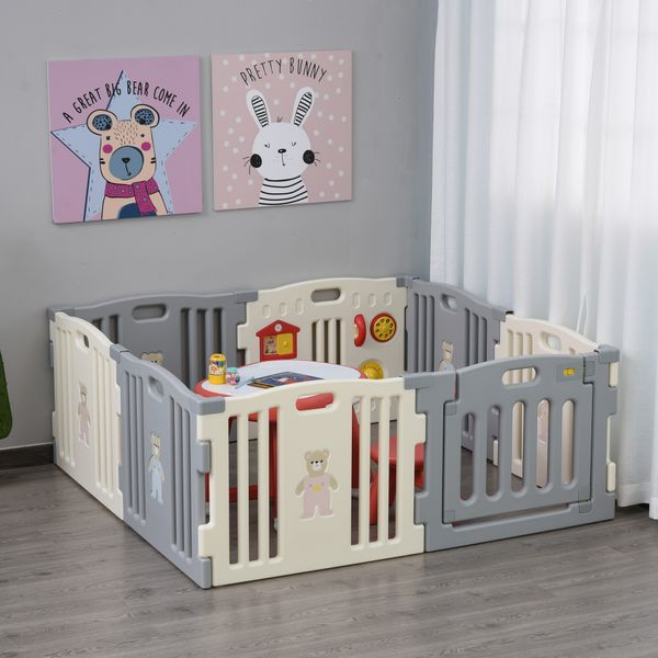 Qaba 8-Piece Children Baby Playpen Kids Activity Center Fence for Kids with Easy Safety Gate & Flexible Design  White 8-pcs Pen Babies/Kids w/ a Space | Aosom