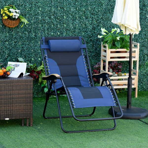 Outsunny Adjustable Zero Gravity Lounge Chair Folding Patio Recliner with Cup Holder Tray & Headrest  Blue/Black   Aosom