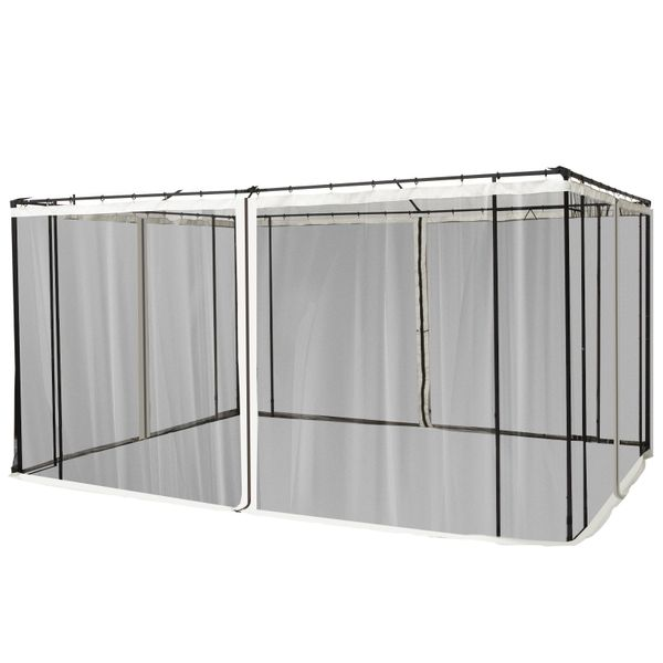 Outsunny Replacement Mesh Mosquito Netting Screen Walls for 10' x 12' Patio Gazebo 4-panel Sidewalls with Zippers (Wall Only Canopy Not Included) Black   Aosom