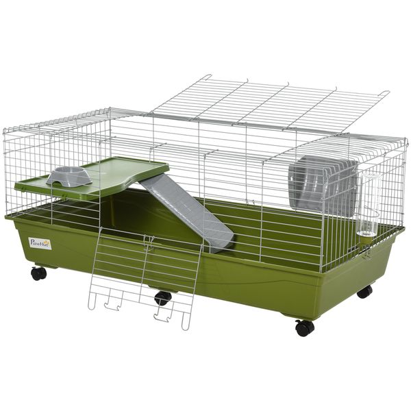 """PawHut 46.75"""" Small Animal Cage Rabbit Chinchilla Guinea Pig Hutch Pet Play House with Platform Ramp Food Dish Water Bottle Hay Feeder w/ 